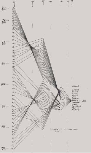 Boceto gráfico inicial para la obra Metástasis, representando los glissandi de las cuerdas.